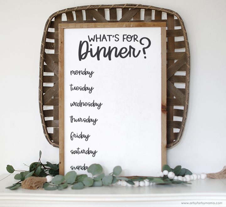 Weekly Menu Planner Sign with Free SVG Cut File