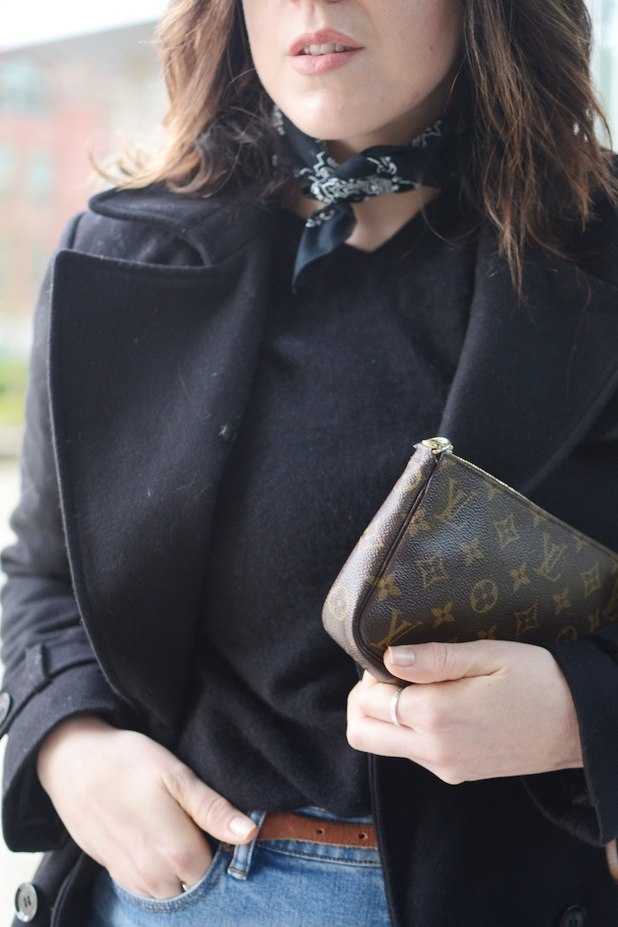 Le Chateau wool coat Aleesha Harris Vancouver fashion blogger French style bandana cool outfit J.Crew rayner jeans