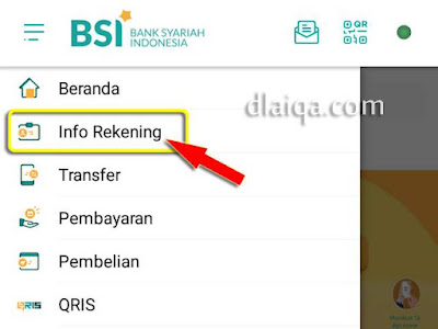 tap 'Info Rekening'