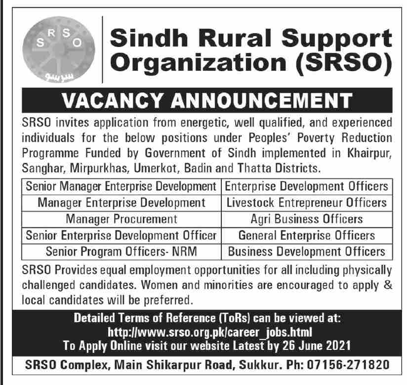 Sindh Rural Support Organization SRSO Jobs Advertisement