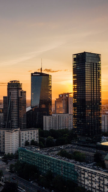 Skyscrapers, City, Aerial view, Sunset, Buildings