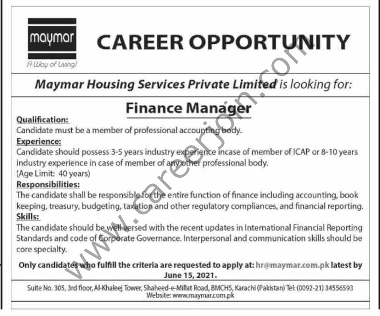 hr@Maymar.com.pk - Maymar Housing Sevices Pvt Ltd Jobs 2021 in Pakistan