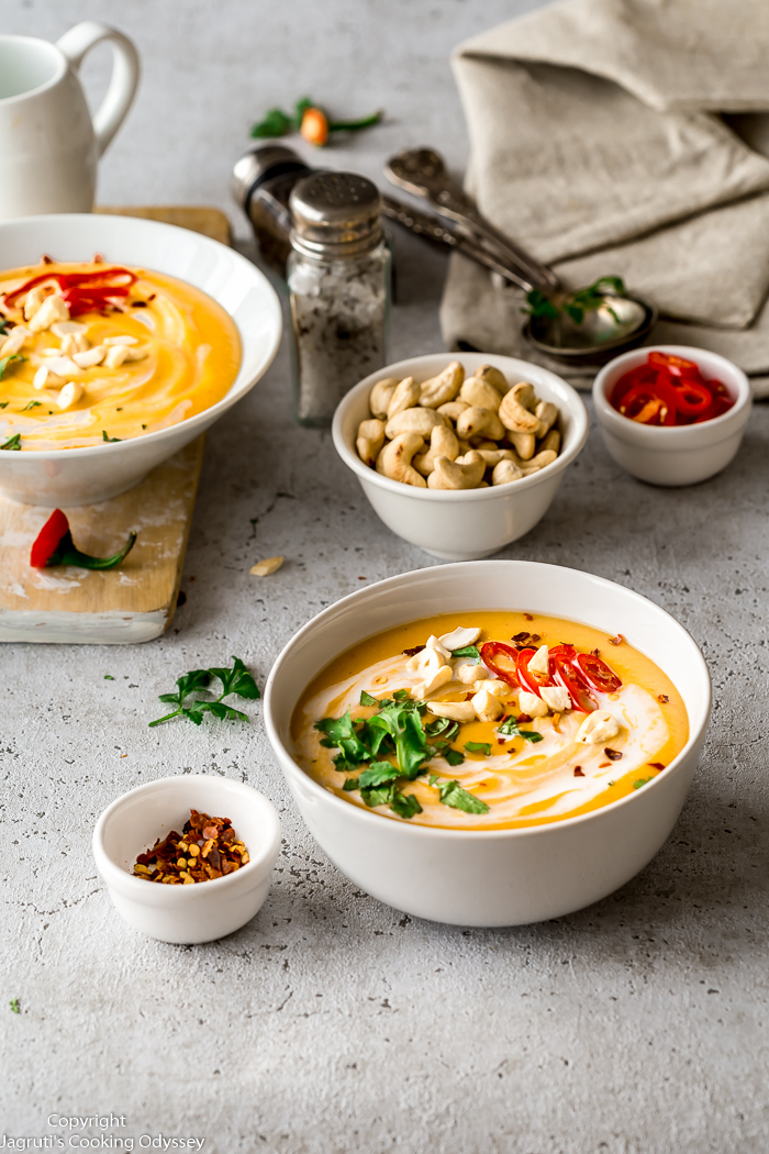 Vegan Mulligatawny Soup is deeply satisfying, comforting and delicious. A richly flavoured and creamy loaded with hearty root vegetables, apples and red lentils and curry powder.  My take on the classic Anglo-Indian Mulligatawny soup that can be laid on the table in no time