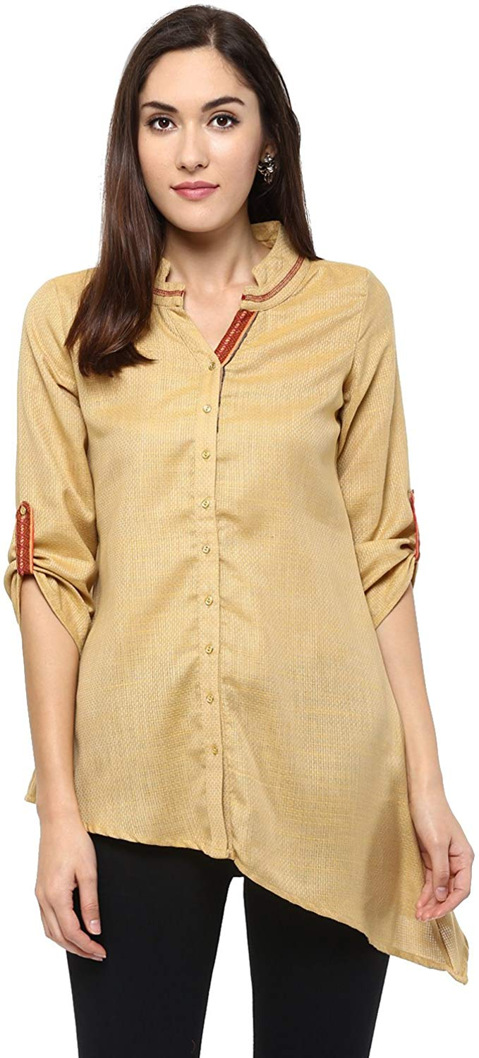 Fusion Beats Women Blended Viscose Yellow Solid with Neck Collar Top