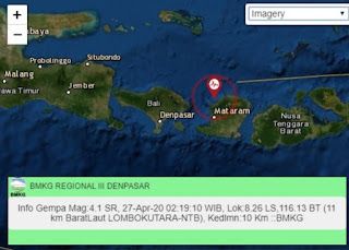 Gempa 4,1 SR Guncang Lombok