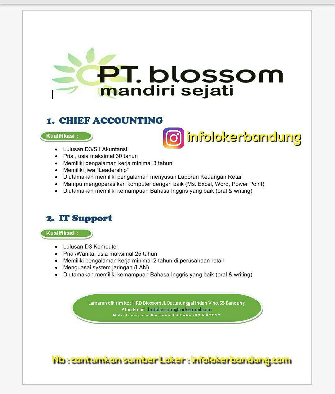 Lowongan Kerja PT.Blossom width=