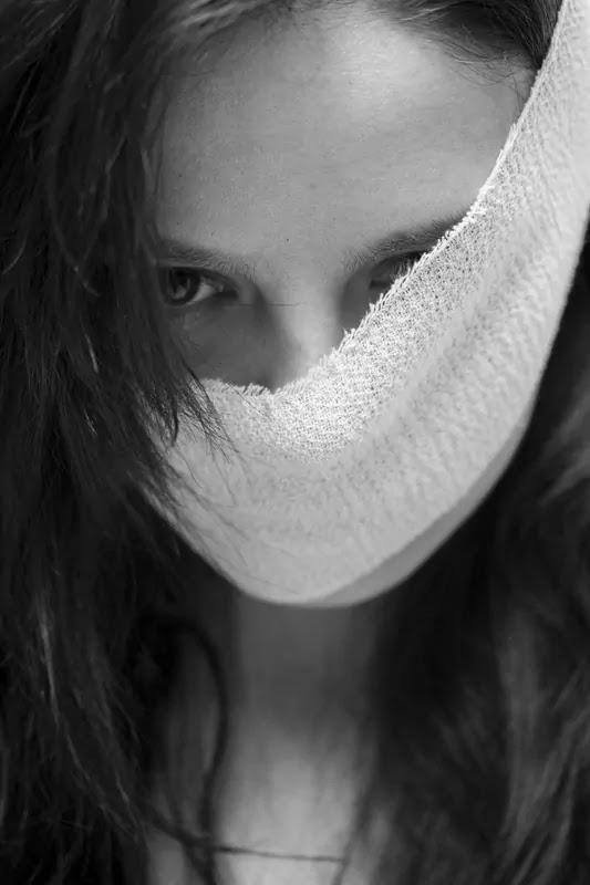 sad face cover girl