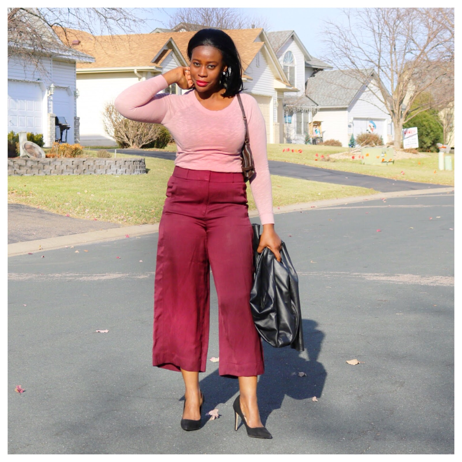 Beauty's Fashion Zone: Mauve Color Top + Burgundy Culottes