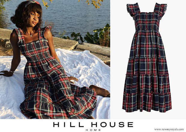 Princess Eugenie wore a Hill House Home The Ellie Nap Tartan Dress