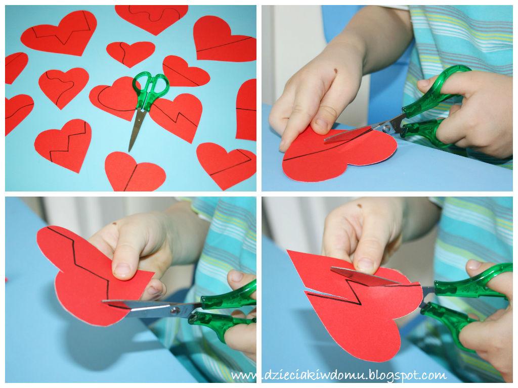 układanki dla dzieci na Walentynki, rozwój małej motoryki, wycinanie, układanie elementów od najmniejszego do największego