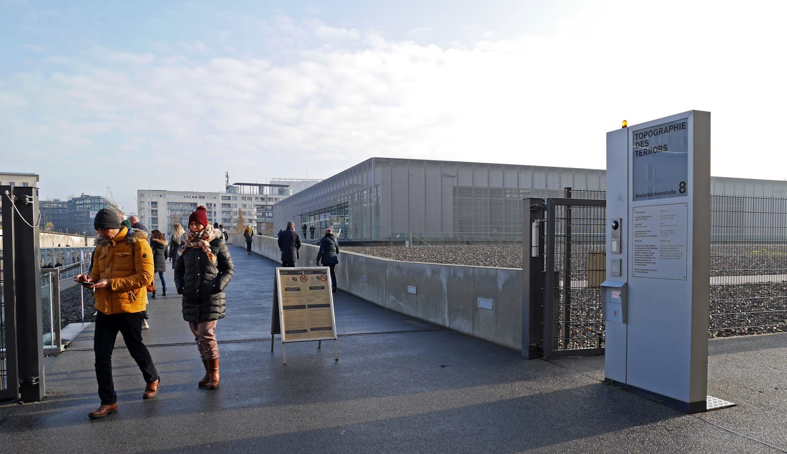 Outside the Topography of Terror museum in Berlin