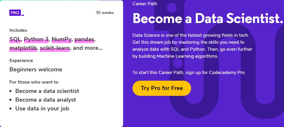 Become a Data Scientist With Codecademy Data Science Career Path