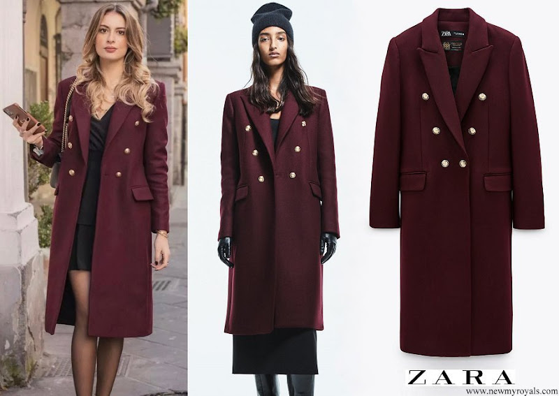 Princess Marie wore a new Zara Maroon Wool Blend Coat