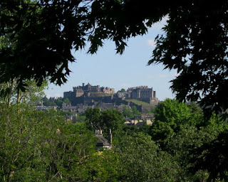 View of Edinburgh Castle from Royal Botanic Garden, Edinburgh, Scotland
