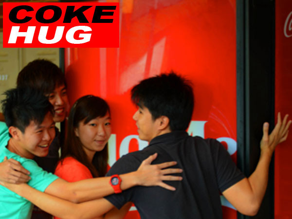 coca cola hug machine