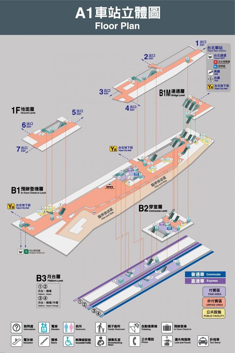 機場捷運臺北車站轉乘+臺北車站出入口平面地圖集 - 花小錢去旅行