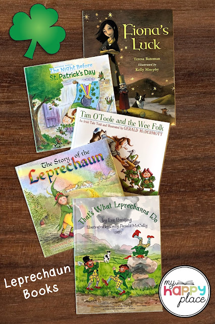 A photo of five books that will help prepare students to make leprechaun traps this St. Patrick's Day