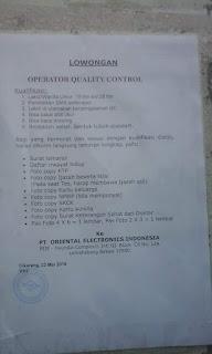 LOWONGAN KERJA OPERATOR QUALITY CONTROL (QC) PT. ORIENTAL ELECTRONICS INDONESIA