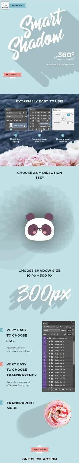 تحميل أكشن الظل الاحترافي Smart Shadow لأدوبي فوتوشوب