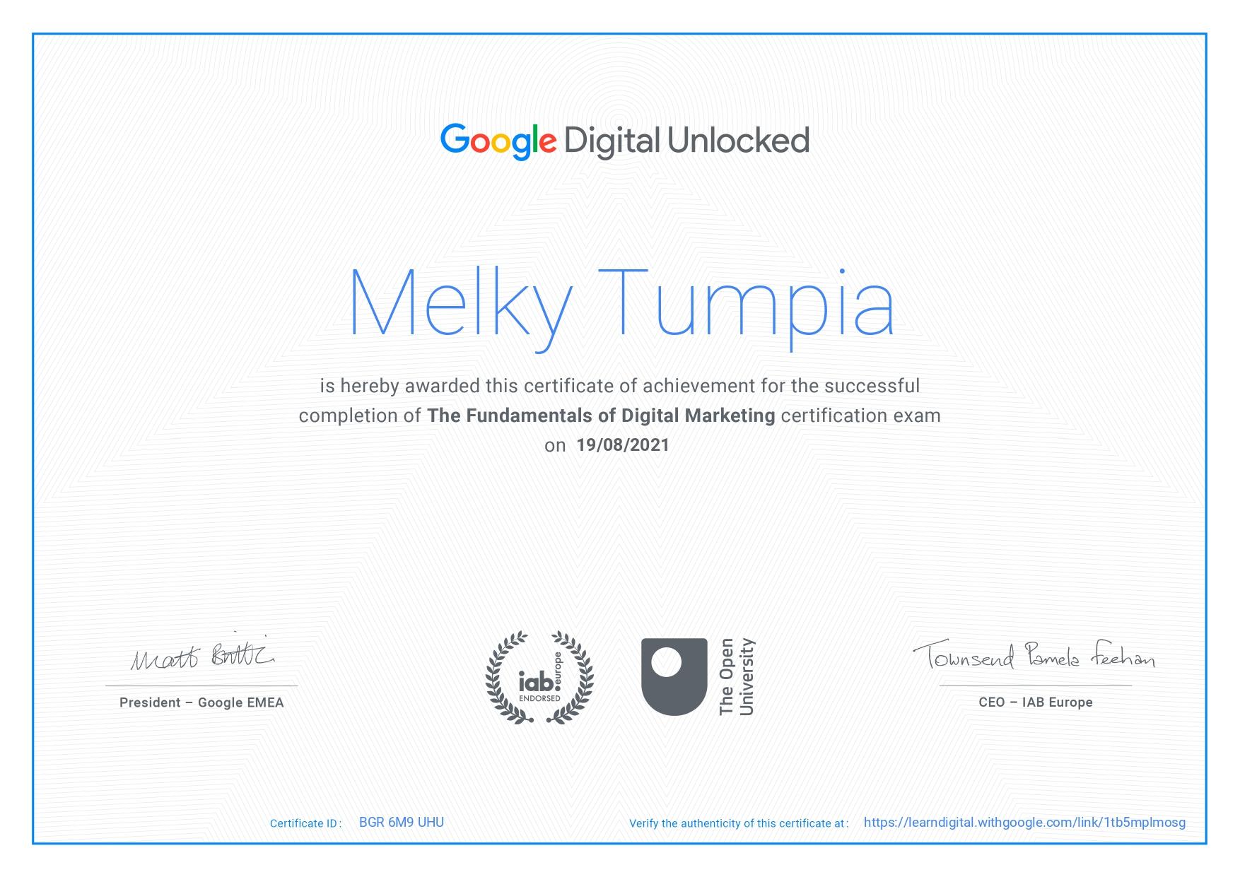 Google Certified Digital Marketing 2021