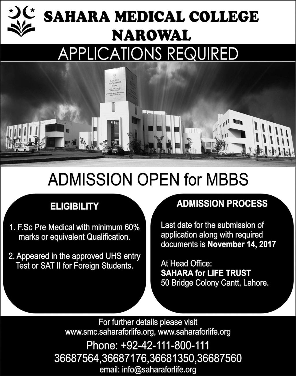 Admissions Open in Sahara Medical College Narowal