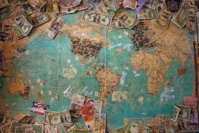 Map showing different currencies