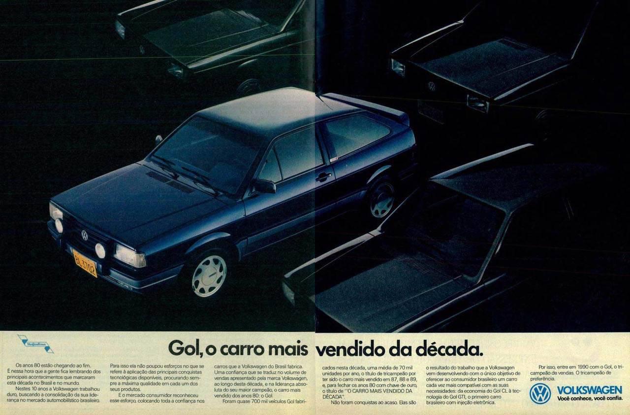 Propaganda antiga da Volkswagen promovendo o sucesso de vendas do Gol em 1989