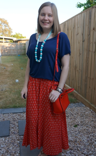 navy oversized tee and red boho printed maxi skirt mum style little red bag | away from blue
