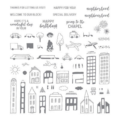 The In the City stamp set from Stampin' Up! There are 60 different stamps to choose from.