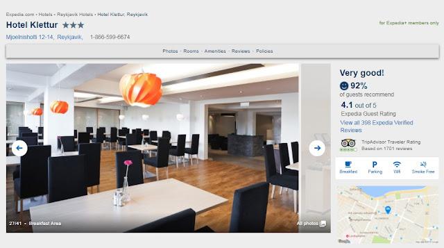 アイスランドのホテルはレイキャビックのホテルクレタに決定