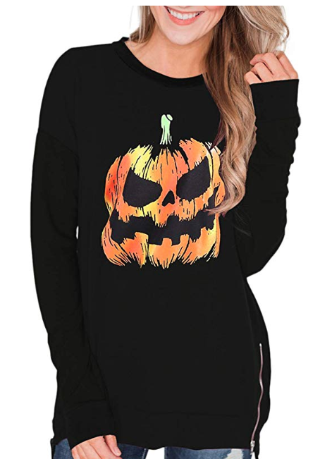 Women's Side Zip Scary Jack-O-Lantern Sweater