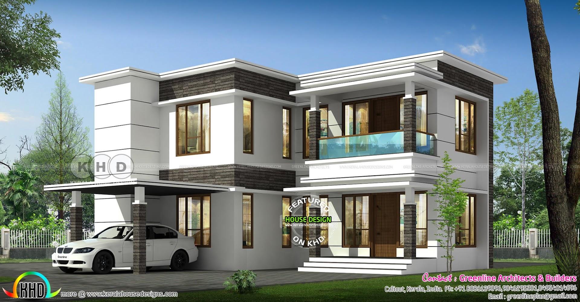 1981 Sq Ft 4 Bedroom Modern Flat Roof House Kerala Home Design Bloglovin
