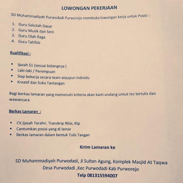 Lowongan Kerja Guru Sekolah Dasar Guru Musik Dan Seni Guru Olah Raga Guru Tahfidz Di Sd Muhammadiyah Kecamatan Purwodadi Purworejo Bursa Lowongan Kerja