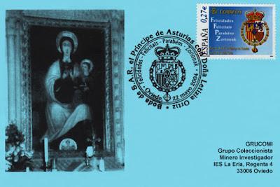 tarjeta, sellos, filatelia, matasellos, enlace, matrimonio, Príncipe Felipe, Leticia Ortiz