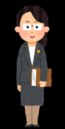 士業バッジをつけた人のイラスト(女性・眼鏡あり)