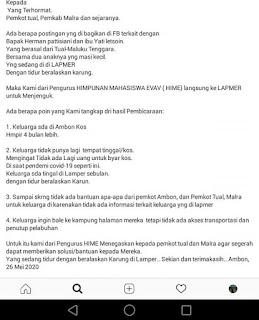 Desakan kepada Pemerintah Kota Tual, Kabupaten Maluku Tenggara dan DPRDyang di unggah di medsos