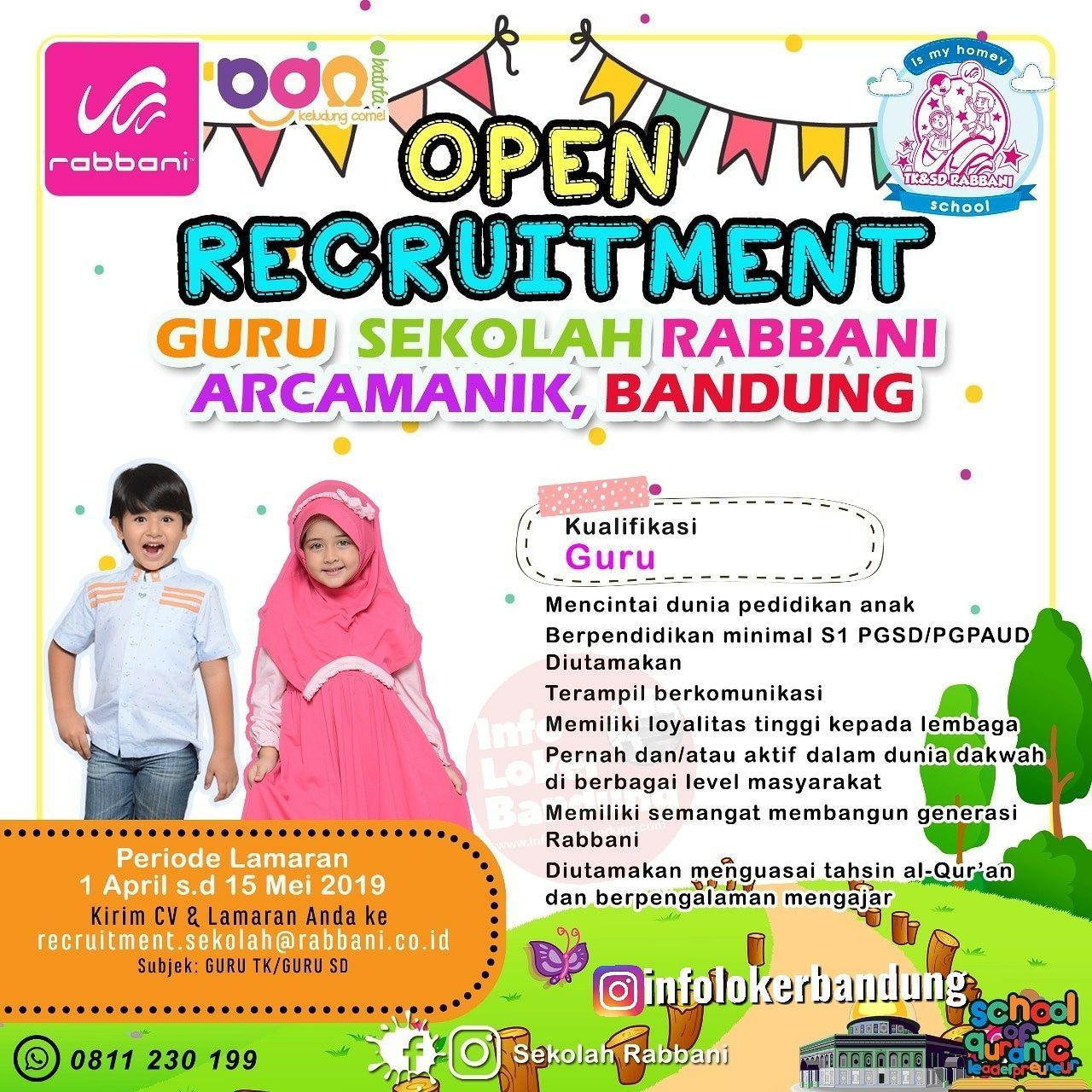 Lowongan Kerja Guru Sekolah Rabbani Arcamanik Bandung April 2019