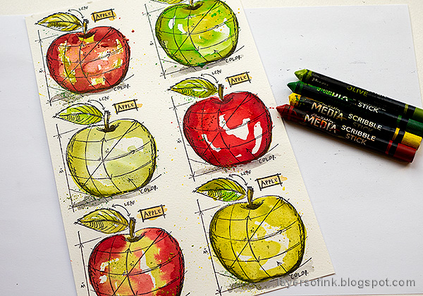Layers of ink - Watercolor Apples Art Journal Tutorial by Anna-Karin Evaldsson. Add texture with Scribble Sticks.
