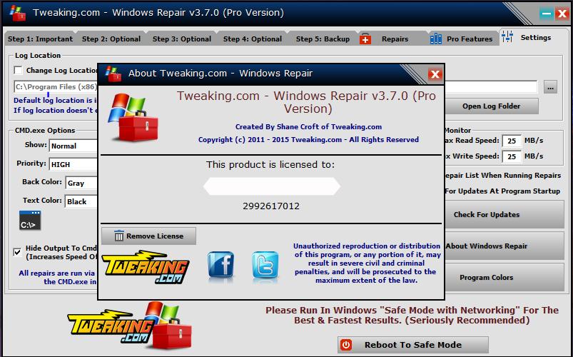Tweaking Windows Repair Serial Key