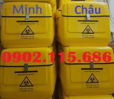 Thùng chở chất thải nguy hại, thùng vận chuyển chất thải nguy hại, thùng chở rác y tế, thùng vận chuyển rác y tế, thùng chở hàng y tế bằng xe máy, 2
