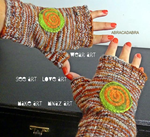 Spiral Orange Knit Fingerless Gloves by Minaz Jantz