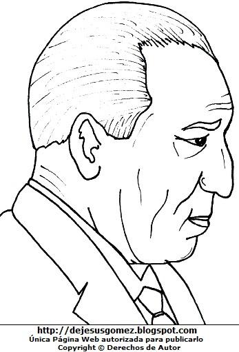 Dibujo de Francisco Morales Bermúdez de perfil para colorear o pintar. Ilustración de Francisco Morales Bermúdez de Jesus Gómez