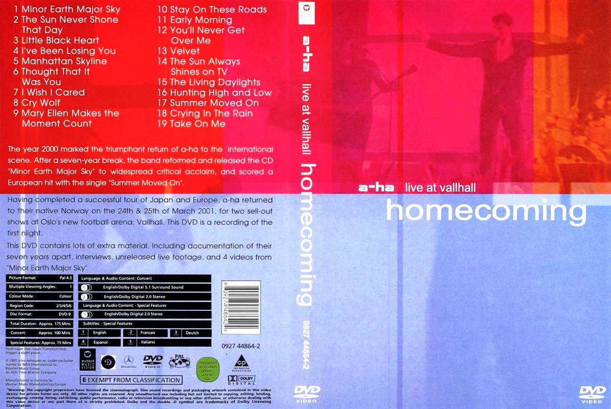 dvd a-ha - live at vallhall - homecoming