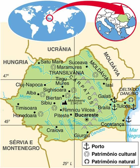 ROMÊNIA - ASPECTOS GEOGRÁFICOS E SOCIAIS DA ROMÊNIA