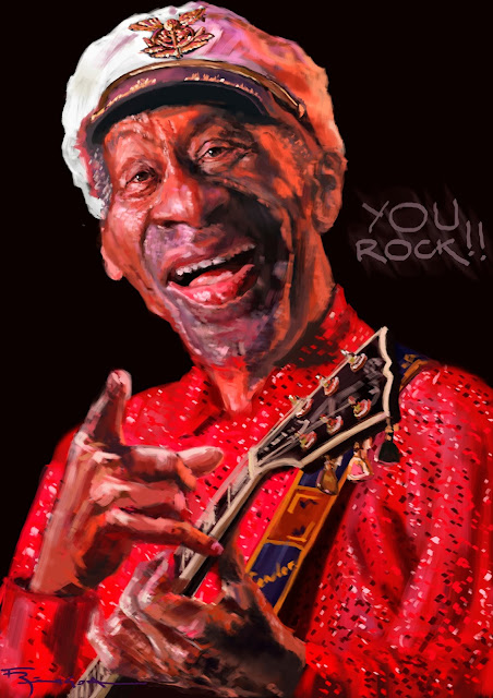 Chuck Berry Rock caricature digital painting Fede Bengoa