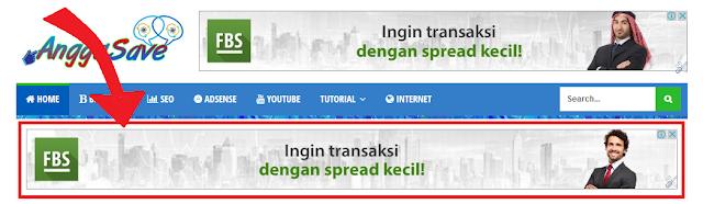 Membuat widget iklan large banner idbawah header atau navigasi di blogger. Dengan CSS dan HTML.