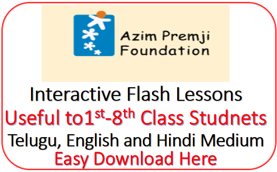 Interactive Flash Lesson by Azim Premji Foundation Free Download Here useful for 1st to 8th Class Students