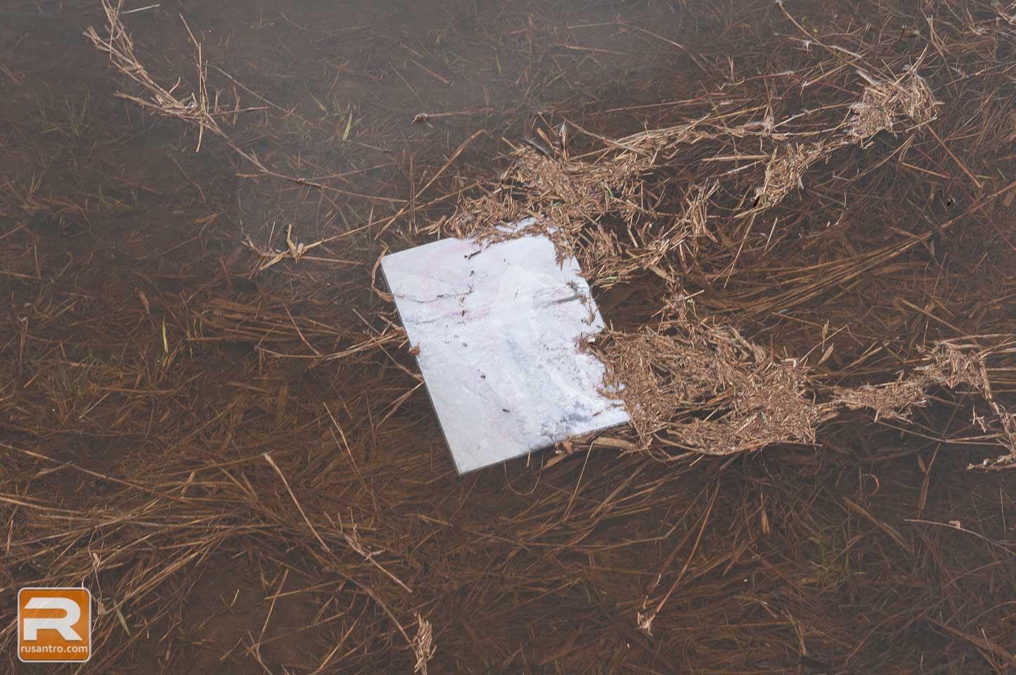 Papīra gabals ūdenī