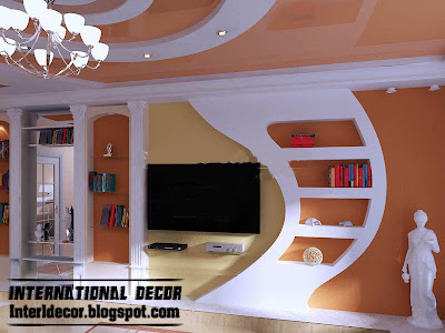 modern gypsum board wall decoration and shelves interior design for TV wall