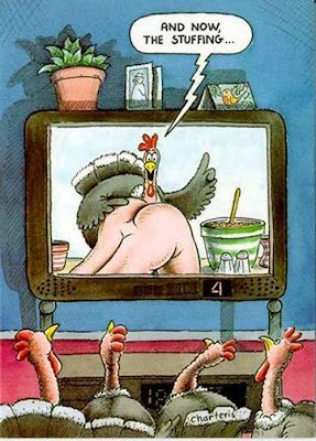 funny thanksgiving turkey television man stuffing show cartoon picture